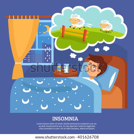Insomnia sleep disorder symptoms with sleepless night cure tips flat poster abstract vector illustration  - stock vector