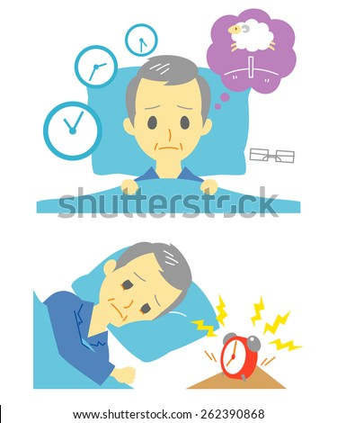 Insomnia, sleeplessness, old man - stock vector