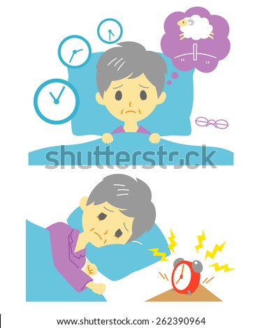 Insomnia, sleeplessness, old woman - stock vector