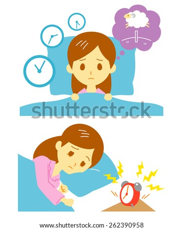 Insomnia, sleeplessness, woman - stock vector