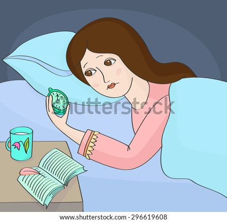 Insomnia. Woman can not sleep and looking at the alarm-clock - stock vector