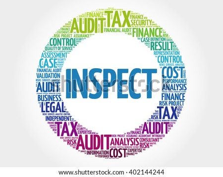 INSPECT word cloud, business concept - stock vector