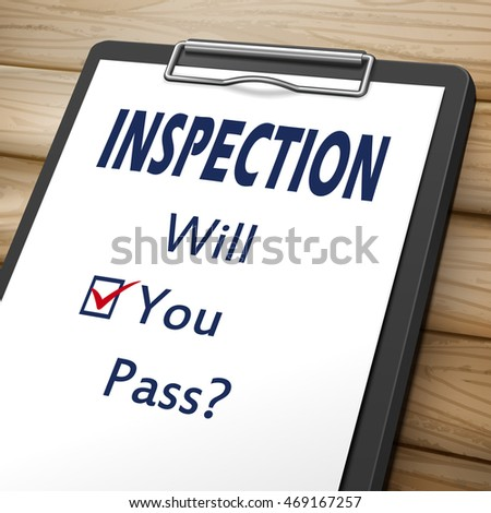 inspection clipboard 3D image with check boxes marked for will you pass