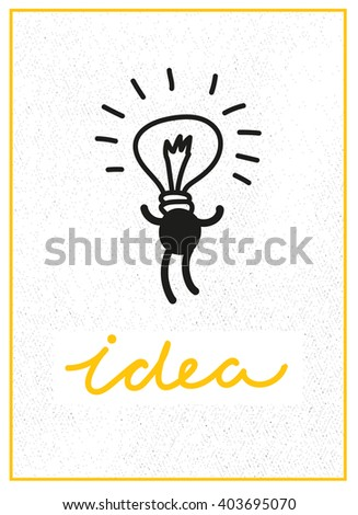 Inspiration concept. Creative brainstorm concept business idea, innovation and solution, creative design, vector illustration. I have an idea. Bulb. Motivational quotes. Idea concept.  - stock vector