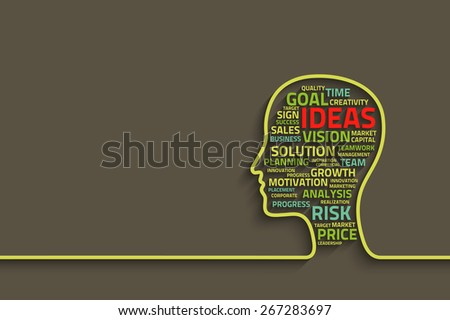 inspiration concept with head and business words, eps10 vector background for your design