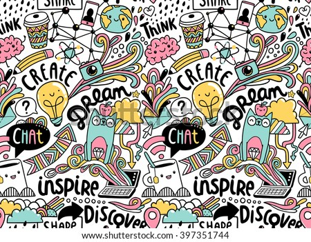 Inspirational concept about social media, web, creativity and communication. Seamless pattern. - stock vector