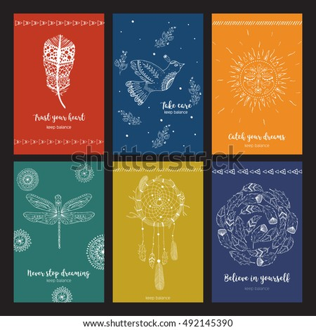 inspirational quotes on cards ethnic boho stock vector royalty free