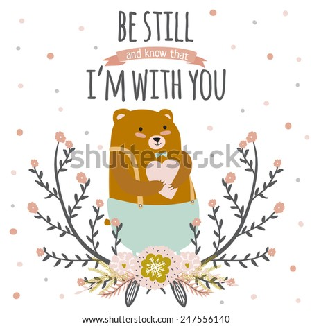 Inspirational romantic and love card for Happy Valentines Day. Stylish poster template for wedding, mothers day, birthday, invitations. Bright illustration with cute bear with heart in arms. - stock vector