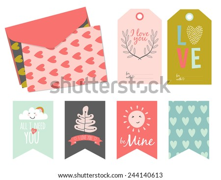 Inspirational Romantic Love Card Stickers Labels Stock Vector ...