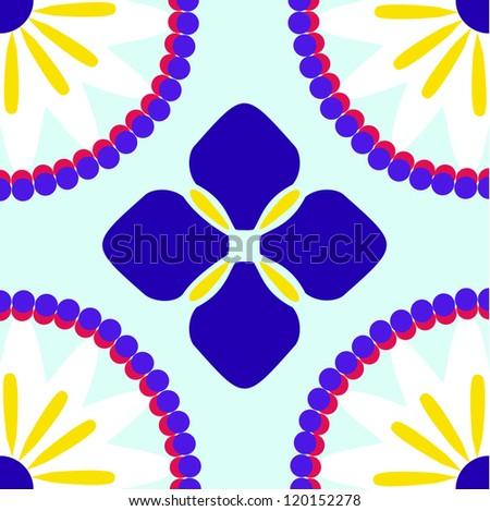 Inspired by traditional talavera tile designs the violet & magenta vector pattern tiles seamlessly. Features an abstract floral pattern which resembles an iris in the center & daisies in the corners. - stock vector