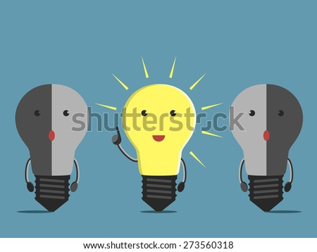 Inspired glowing light bulb character in moment of insight and two confused dull ones. EPS 10 vector illustration, no transparency - stock vector