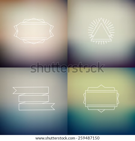 Instagram filter colors style blurred backgrounds with decoration badges, vector  defocused wallpaper template set  - stock vector