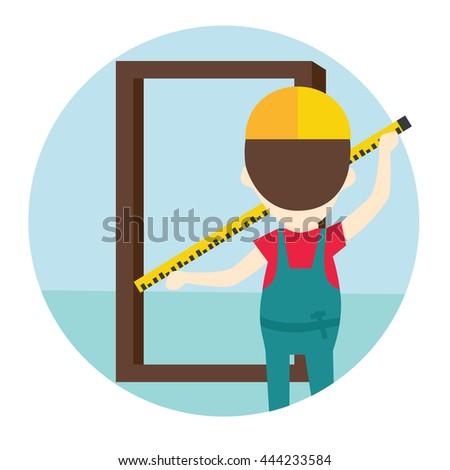 Installation of doors flat style illustration. Measurement of the doorway. Measurement of doors. A worker measures the door. - stock vector