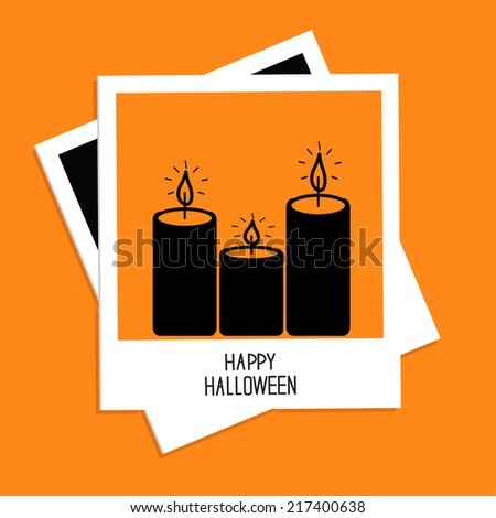 Instant photo with candle set. Happy Halloween card. Flat design. Vector illustration - stock vector
