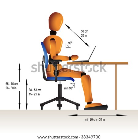 Instruction on how to sit correctly when working in order to avoid diverse health problems. - stock vector