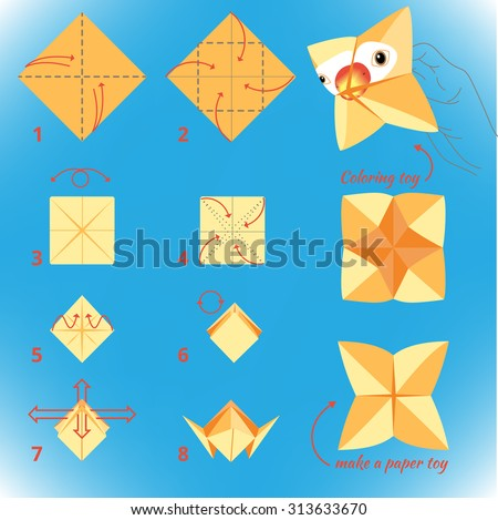 Instructions How To Make Paper Bird Origami Tutorial Step By Vector Toy