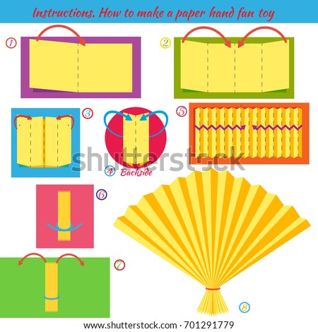 Instructions How To Make Paper Hand Fan Origami Tutorial Step By Educational Game