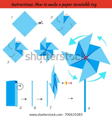 Instructions How To Make Paper Turntable Tutorial Step By Origami Educational Game