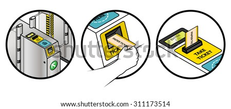 Instructions on how to use a train station ticket barrier. Inserting and removing a paper ticket. - stock vector