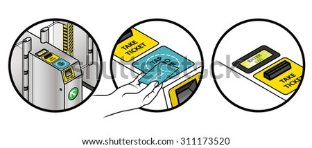 Instructions on how to use a train station ticket barrier. Tapping a prepaid transport card. - stock vector