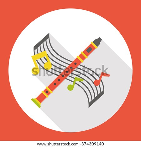 instrument flute flat icon - stock vector
