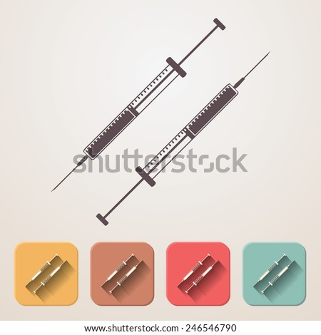 insulin syringe set fading shadow effect color boxes. - stock vector