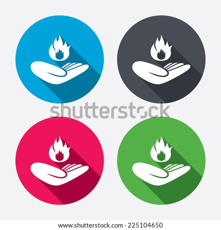 Insurance against fire sign icon. Hand holds fire flame symbol. Circle buttons with long shadow. 4 icons set. Vector - stock vector