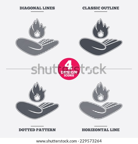 Insurance against fire sign icon. Hand holds fire flame symbol. Diagonal and horizontal lines, classic outline, dotted texture. Pattern design icons.  Vector - stock vector
