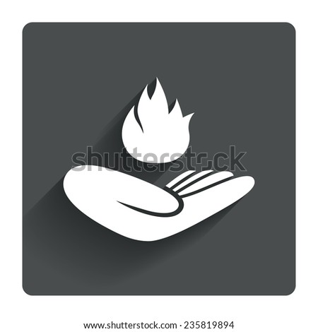 Insurance against fire sign icon. Hand holds fire flame symbol. Gray flat square button with shadow. Modern UI website navigation. Vector - stock vector