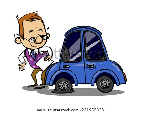 Insurance agent inspects a broken car. Vector illustration
