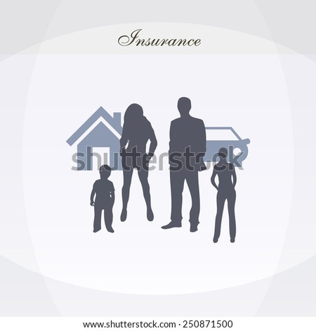Insurance background car, house and life poster - stock vector