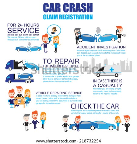 Insurance car crash ,Cartoon Characters infographic - stock vector