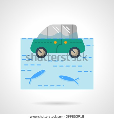 Insurance car from flood. Green car in a river or lake with fishes.  Flat color style vector icon. Web design element for site, mobile and business. - stock vector