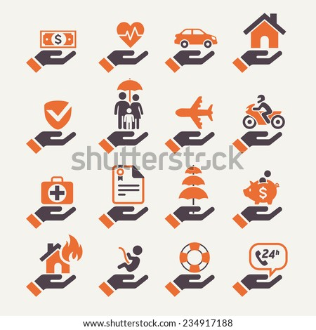 Insurance hand icons set. Vector Illustration. - stock vector