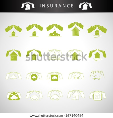Insurance House And Car Icons Set - Isolated On Gray Background - Vector Illustration, Graphic Design Editable For Your Design - stock vector