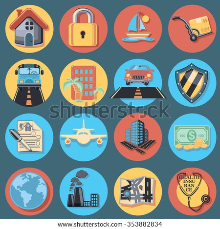 Insurance Icon Set - stock vector