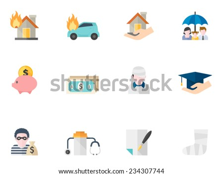 Insurance icons in flat colors style. - stock vector