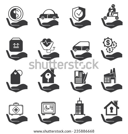 insurance icons set - stock vector