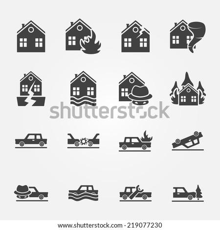 Insurance icons vector set - natural disaster, home and auto insurance, car crash vector symbols - stock vector