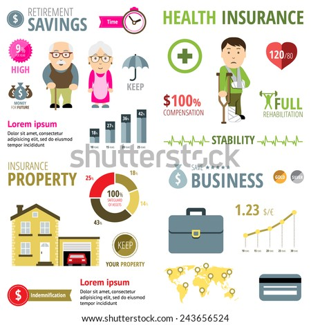 Insurance Infographic. Life insurance, property insurance and business insurance. Vector illustration - stock vector