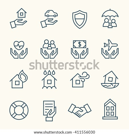 Insurance line icons - stock vector
