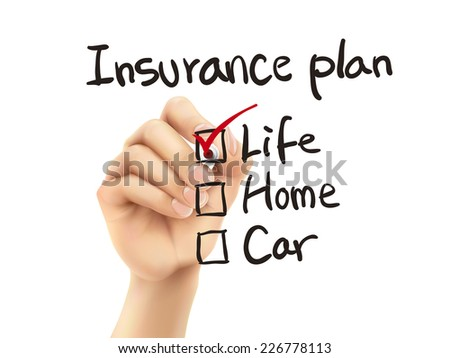 insurance plan checklist checking by 3d hand over white background