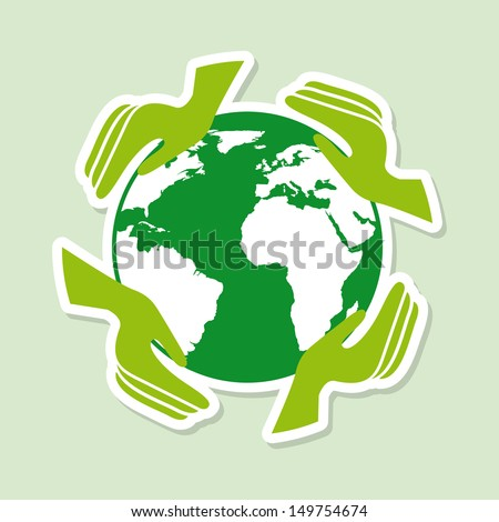 insurance planet over green background vector illustration