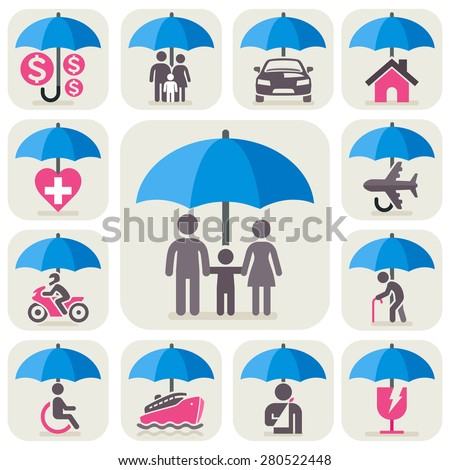 Insurance protection concept icons. All Insurance and umbrella symbols. Vector illustration. - stock vector