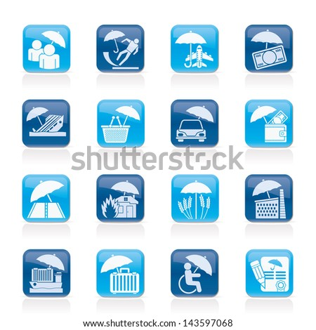 insurance, risk and business icons - vector icon set - stock vector