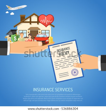 Insurance Services Concept with Flat Icons for Poster, Web Site, Advertising like House, Car, Medical, Travel and Family insurance in Hand vector illustration