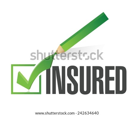 insured check list and pencil illustration design over a white background - stock vector