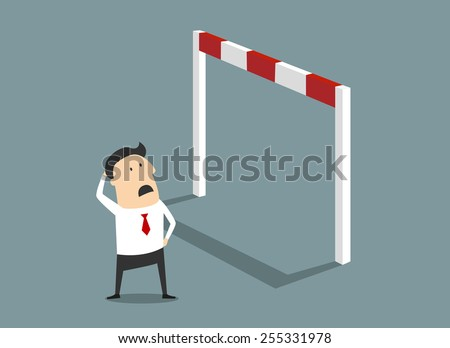 Insurmountable business problem flat concept with a poor little cartoon businessman staring up at a tall hurdle and scratching his head as to how to get over it - stock vector