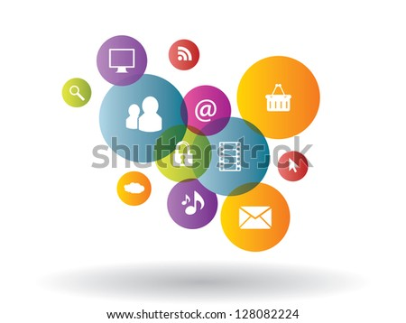 Integration between media and business generation - stock vector