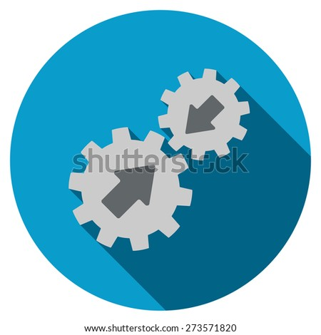 Integration icon. Flat round button with long shadow.  - stock vector